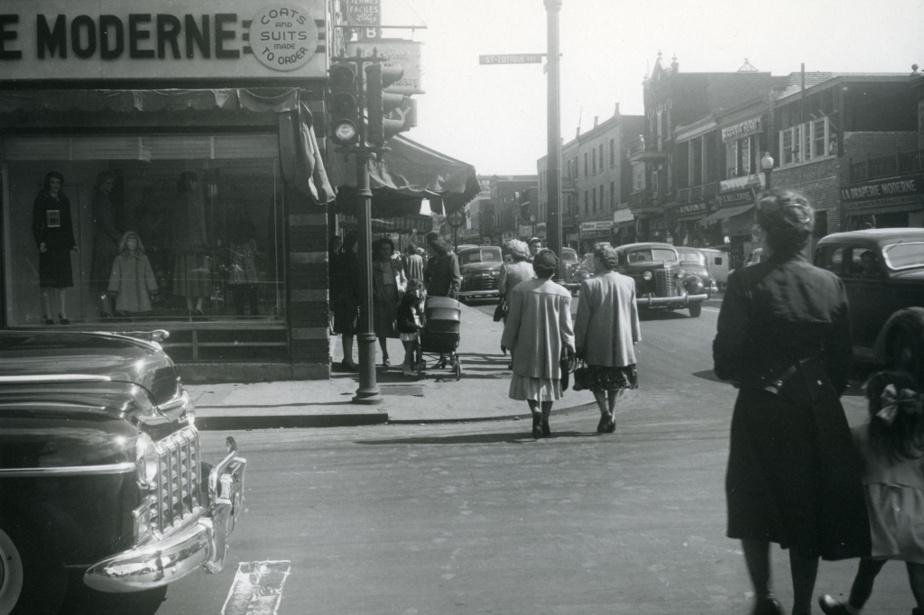 À l'intersection de la rue Saint-Zotique, dans les années1950