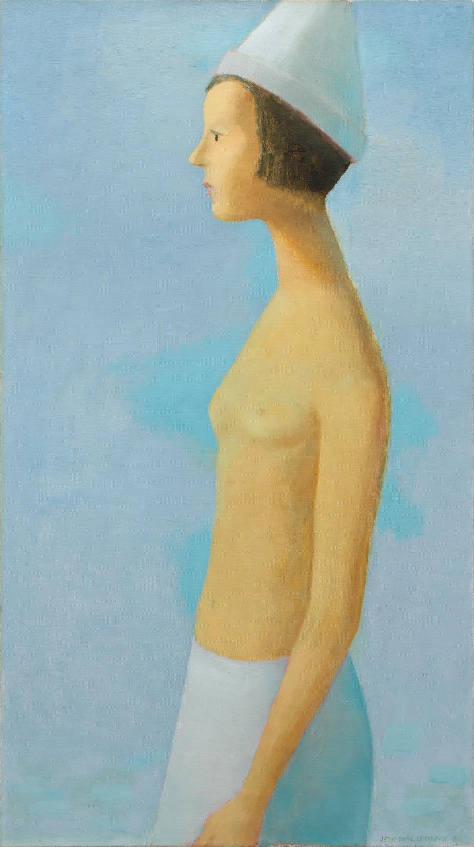 Nu sur fond bleu, 1963, Jean Paul Lemieux (1904-1990), huile sur toile, 109,2cm x 61cm. Estimation: entre 325000$ et 425000$.