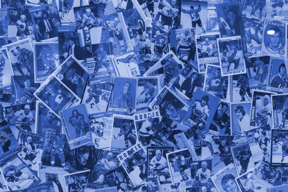 Derrière la photo de Guy Lafleur est imprimé un montage de cartes dehockey.
