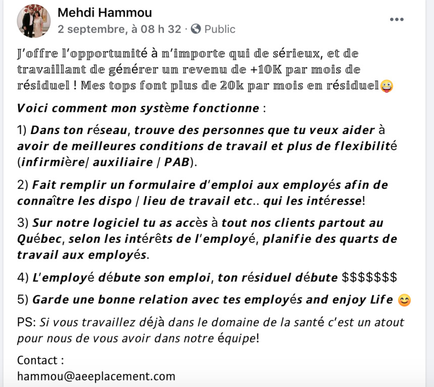 Publication du fondateur d'AEE, Mehdi Hammou,pour solliciter des «recruteurs» de personnel dans le réseau de la santé payés à la commission.