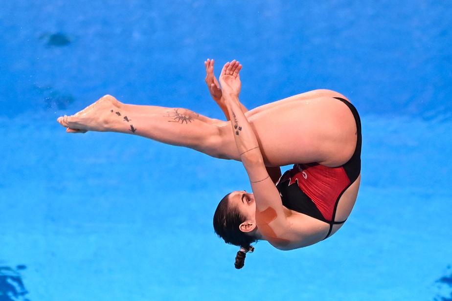 Pamela Ware en pleine action lors des préliminaires au tremplin de 3m. La Québécoise a terminé au quatrième rang pour se qualifier facilement pour les demi-finales.