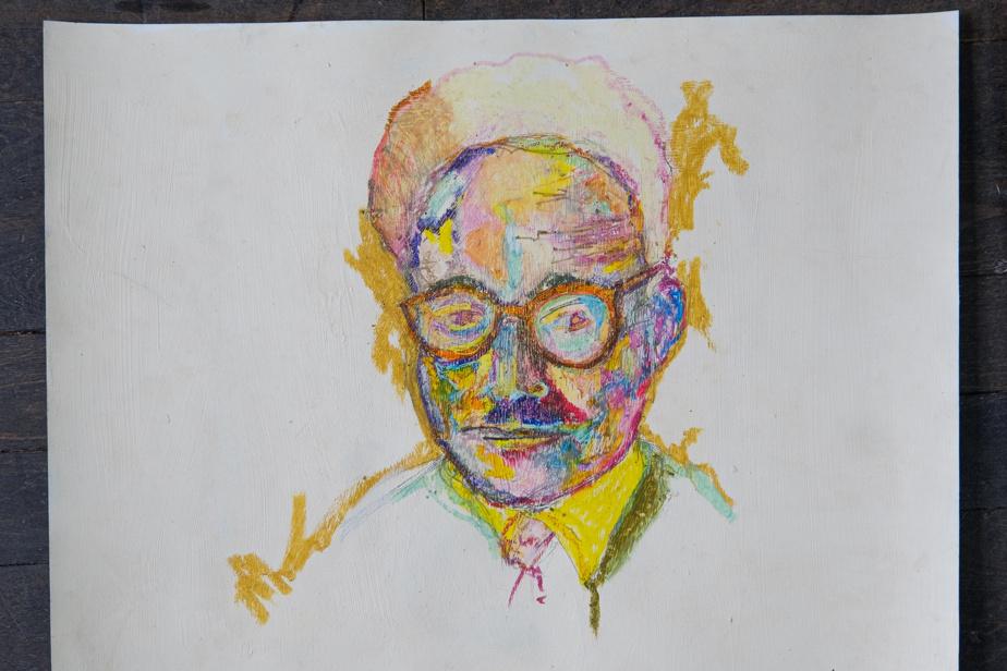 Mouloud Feraoun, 2019, acrylique et pastel à l'huile, 20po x 25po
