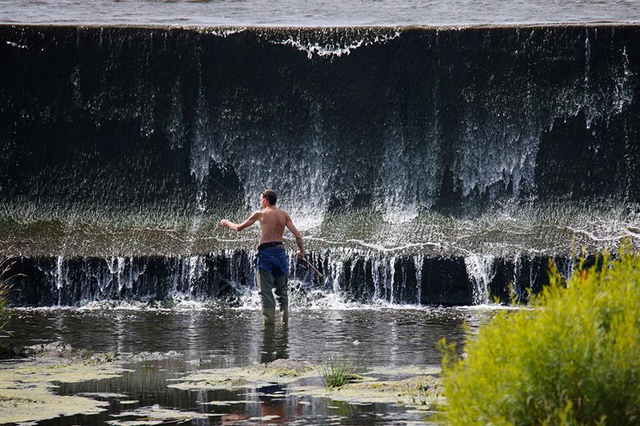 Un homme profite de la température clémente pour pêcher à gué dans la rivière Yamaska, à Saint-Hyacinthe, en Montérégie.