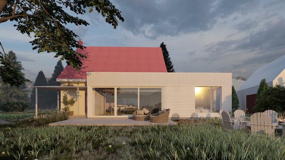 Un projet de maison proposé en deux couleurs par Étienne Bernier Architecture.