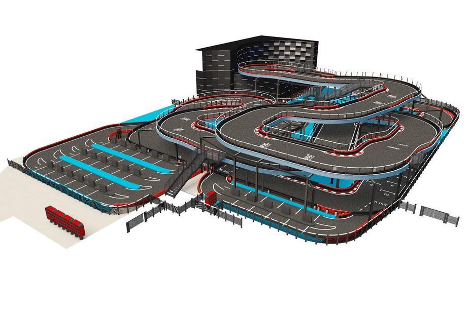La piste de karting se déploiera sur trois parcours, trois niveaux et un demi-kilomètre.
