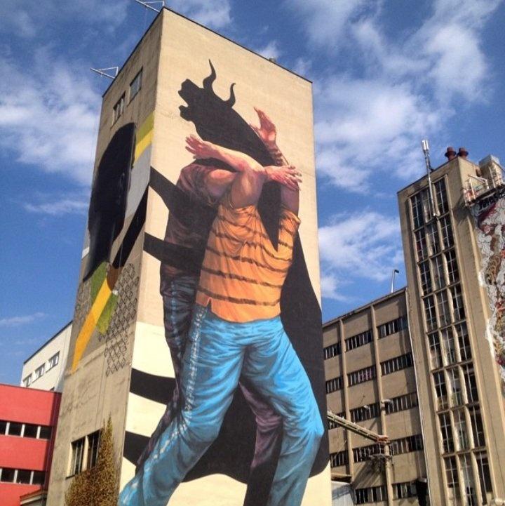 Cette œuvre murale de Jaz, un artiste né à BuenosAires, est l'un des nombreux exemples d'art urbain dans la capitale de l'Argentine.