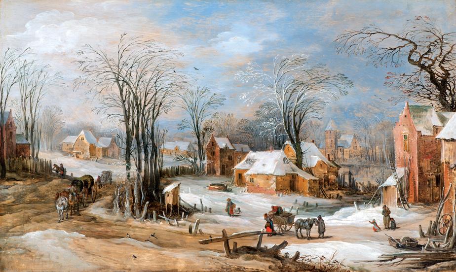 Vue d'un village en hiver avec des charrettes et un chariot, fin des années1620, Jan Brueghel le Jeune, huile sur bois. Don de Michal et Renata Hornstein.