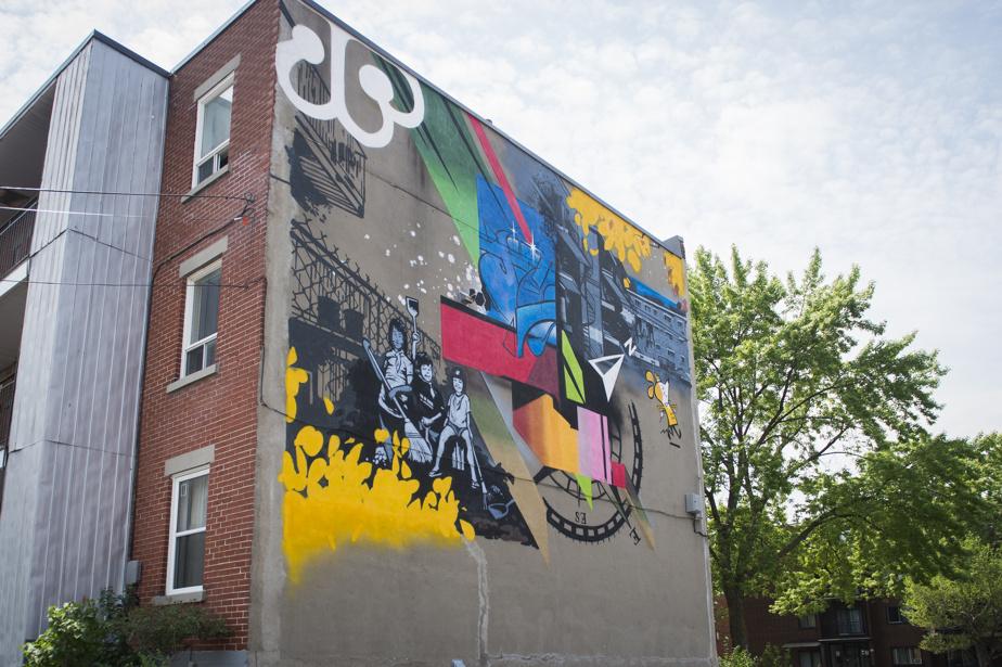 Les ruelles du nord (2019), par Alex Snipes (A. G. C. Productions), au 10155, boulevard Saint-Michel. Éclectique, cette œuvre murale dont l'esthétique rappelle celle de la bande dessinée a été produite par Artgang.