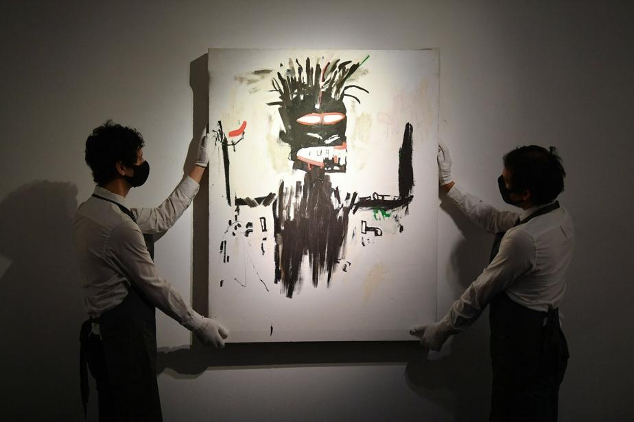 L'acrylique sur toile Self Portrait, de Jean-Michel Basquiat, présentée aux médias chez Christie's à Londres, le mois dernier.