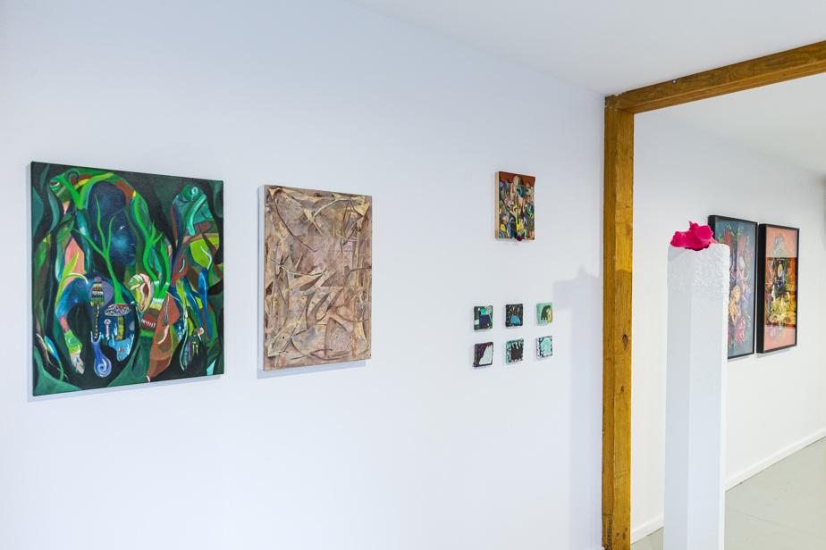 Vue de l'exposition Sentiers sauvages avec des œuvres de Nicolas Ranellucci, Olivier DeSerres et Geneviève L'Heureux