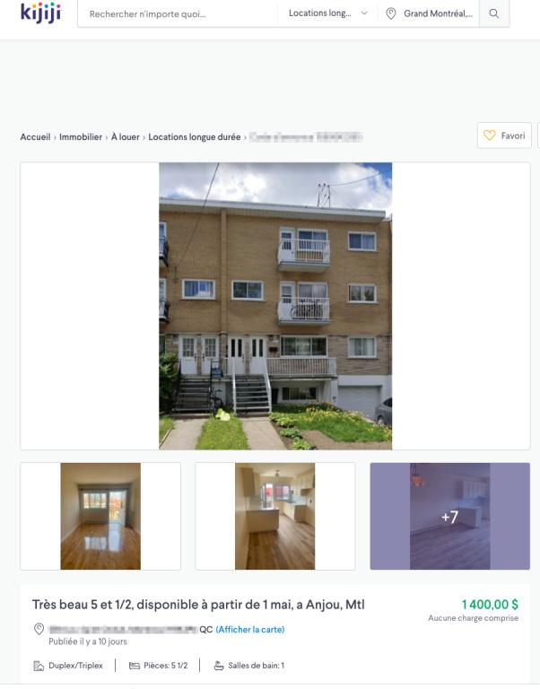L'annonce sur le site Kijiji montre que l'appartement d'Anjou est à louer pour 1400$ par mois.