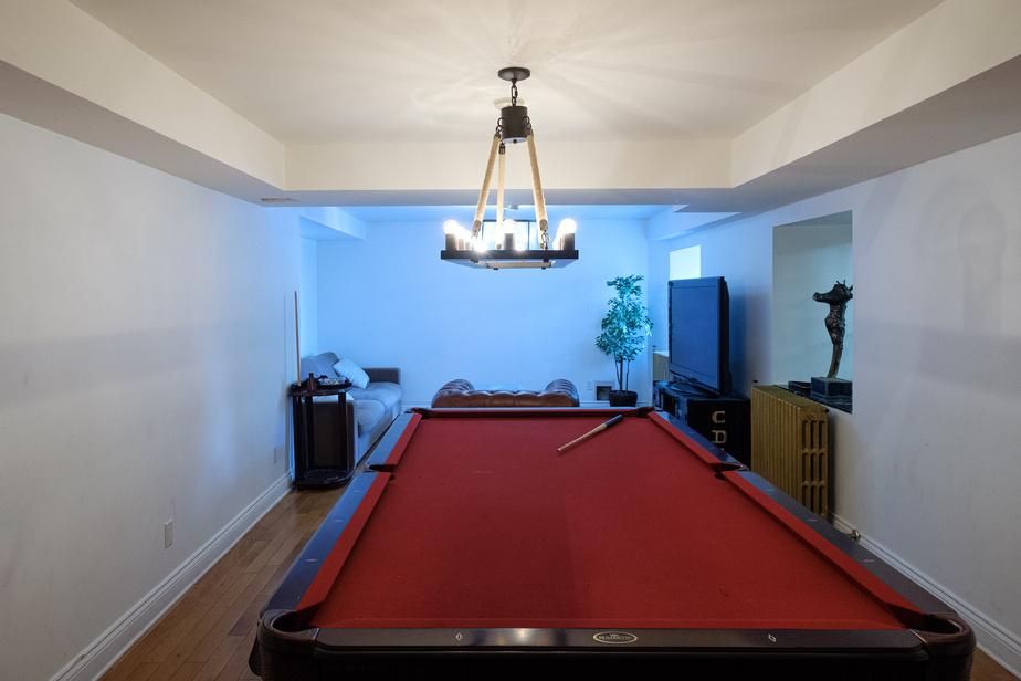 Une table de billard côtoie un salon avec une télé dans le sous-sol, qui n'en est pas vraiment un.