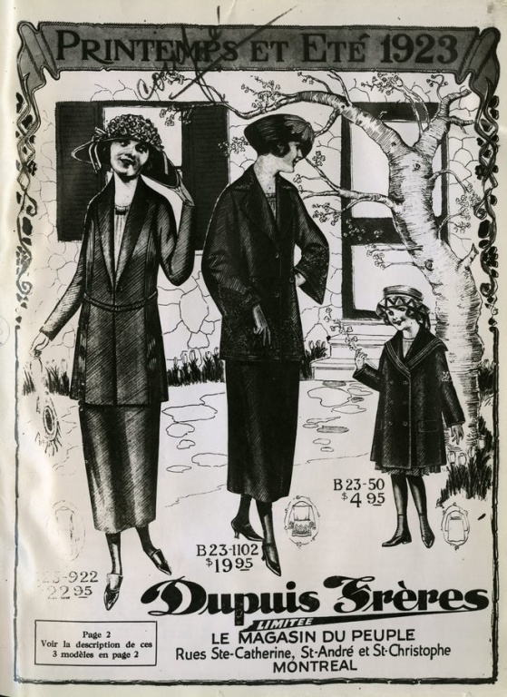 Le catalogue printemps-été 1923 de Dupuis Frères. Ils ne sont publiés que depuis deux ans.