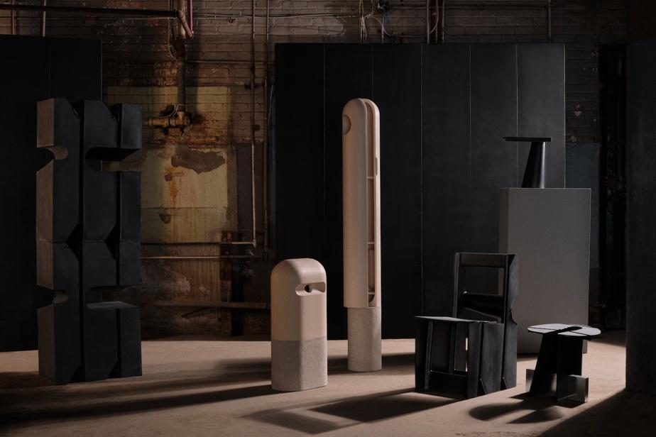 Les meubles signés SSSVL (en noir) et les armoires de Loïc Bard (en blanc)