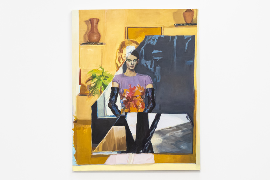 Plaza (gold room), 2021, Janet Werner, huile sur toile, 51 x 61cm