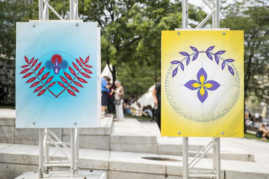 Sur le chemin, exposition d'Eruoma Awashish, est présentée à ciel ouvert sur la place des Festivals du 4 au 8août, dans le cadre de Présence autochtone.