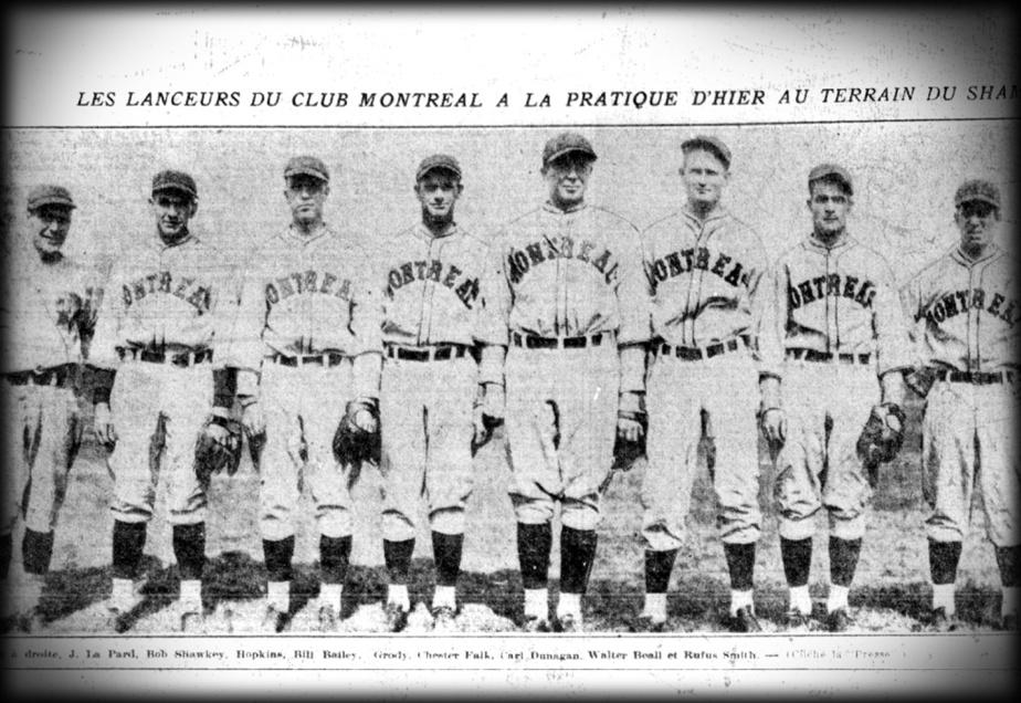 Edgar LePard, Bob Shawkey, Paul Hopkins, Bill Bailey, Bob Grody, Chester Falk, Carl Dunnagan, Walter Beall et Rufus Smith, les lanceurs des Royaux de Montréal, en 1928