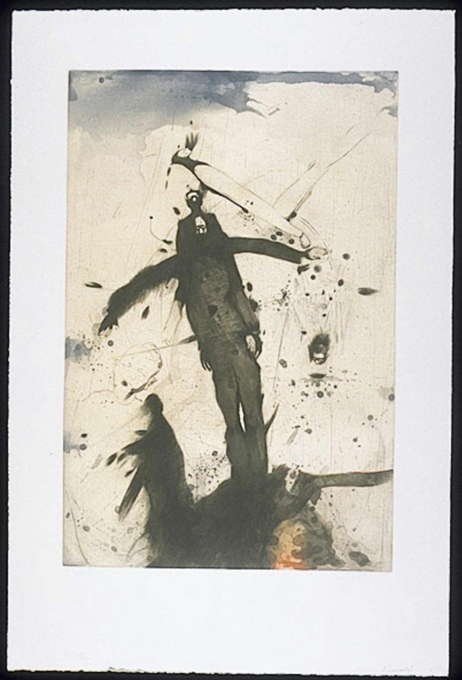 L'épouvantail, 1989, aquatinte et burin sur Chine, 106 cm x 70cm. Une autre impression, légèrement différente, de cette gravure est exposée actuellement à la Biennale internationale de l'estampe de Trois-Rivières.