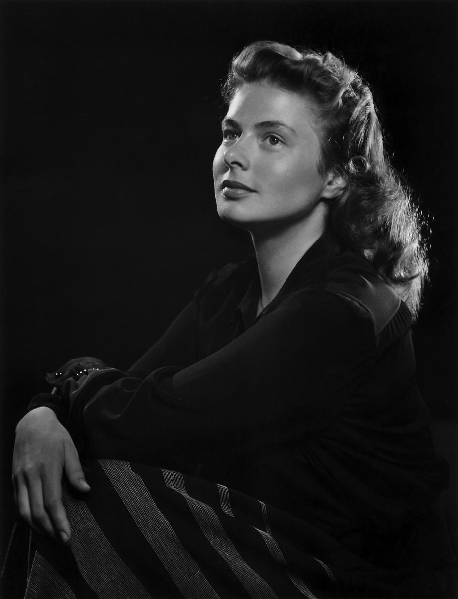 Ingrid Bergman, 1946, Yousuf Karsh (1908-2002), épreuve à la gélatine argentique, 26cm x 20cm. Don d'Estrellita Karsh à la mémoire de Yousuf Karsh.