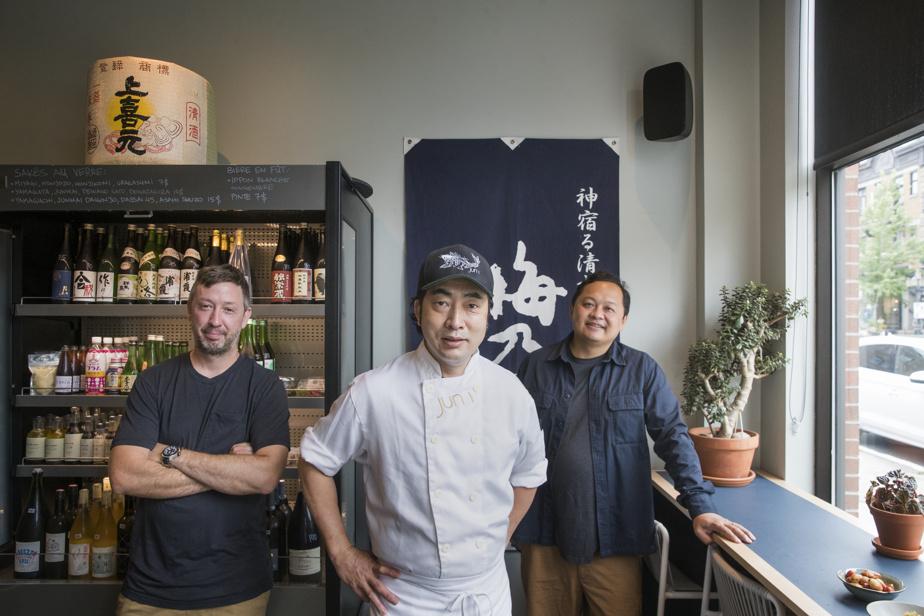Les trois copropriétaires du Jun I et d'Ôkini: Jonathan Daunais, lechef Junichi Ikematsu et Ped Phimphrakeo