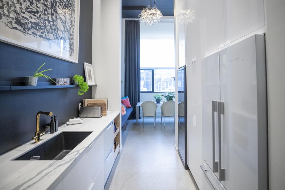 Le second volet de la cuisine est installé derrière le premier. C'est ici que se trouvent les électros et autres armoires de rangement ainsi qu'un second évier.