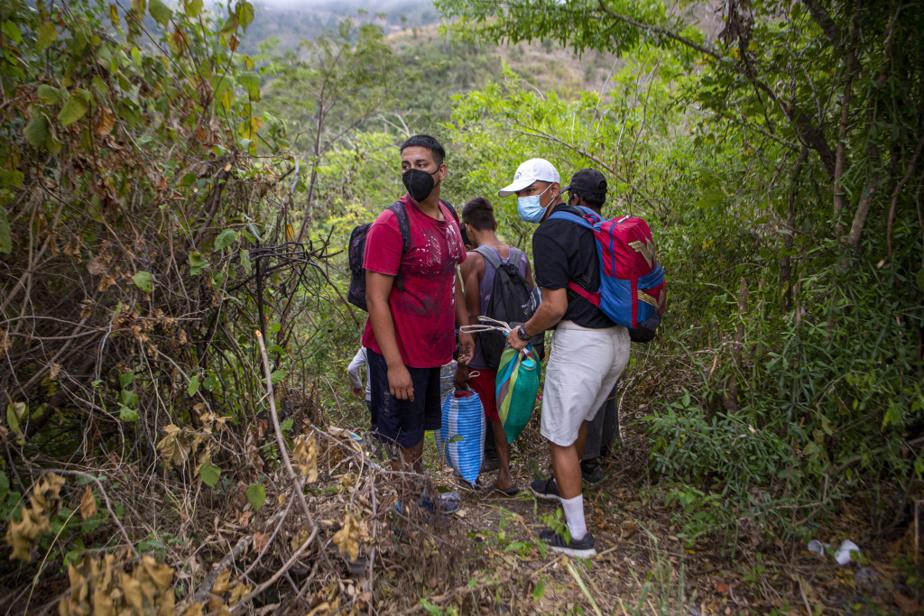 Des migrants honduriens jettent un œil vers un barrage de la police guatémaltèque avant de prendre un chemin détourné.