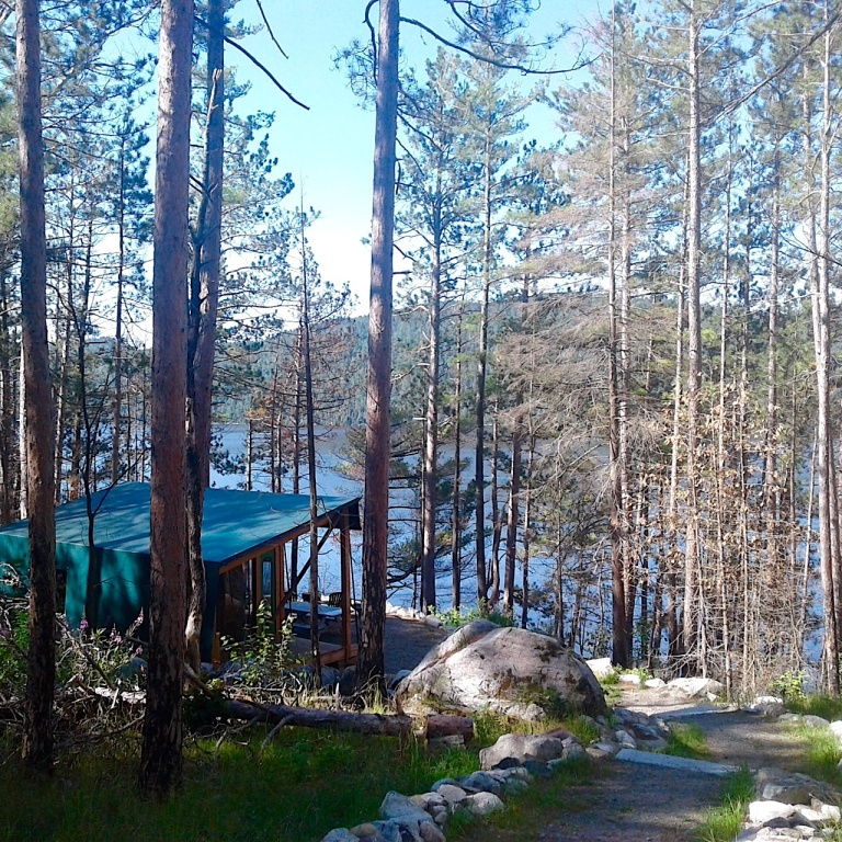 «En raison de la pandémie, notre voyage au Maroc prévu en avril a pris le bord. Nous avions donc bien hâte de partir dans le bois, au parc national d'Opémican, après le confinement! Nous étions dans le secteur Kipawa, qui ne dispose ni d'électricité ni d'eau courante. Nous avons fait de la randonnée pédestre et du canot. Le vent bruissait dans les pins et les cèdres et je m'imaginais les générations d'autochtones qui ont circulé sur ce lac majestueux… Jusqu'à ce que les colonisateurs viennent rompre l'équilibre entre les humains et la nature de ce lieu. Un bien beau coin de pays.» — Natalie Clairoux