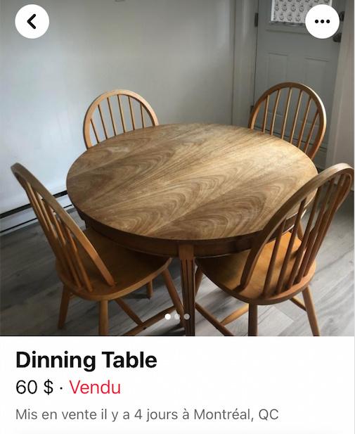 Une table à dîner