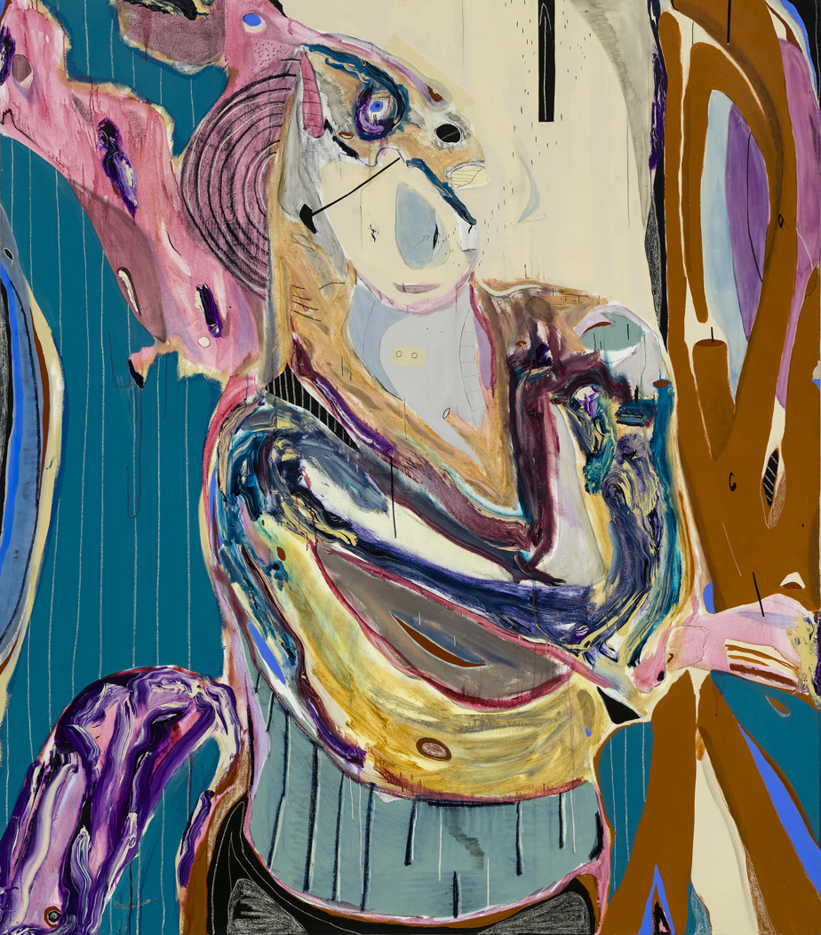 The Redemption [La rédemption], 2020, Manuel Mathieu (1986-), acrylique, craie, fusain et papier-cache sur toile, avec blocs de résine de silicone. Collection MBAM, don de Manuel Mathieu.