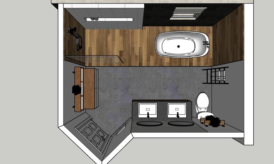 Ce plan en trois dimensions de la nouvelle salle de bains, avec une vue d'en haut, permet de comprendre l'étendue des travaux effectués sous la direction de la designer d'intérieur Claudia Bérubé. La douche et la toilette ont été interchangées, tout comme le meuble-lavabo et la penderie, beaucoup moins volumineuse qu'avant.
