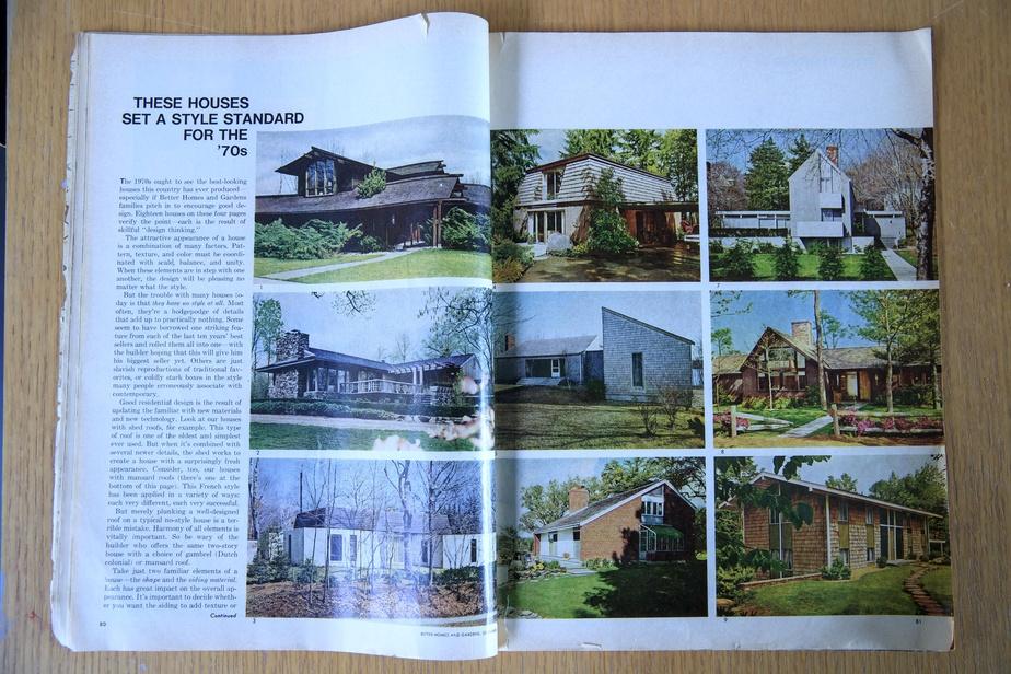 Le reportage du magazine Better Homes and Gardens, en septembre1969, présentait 18maisons au design réfléchi, ouvrant la voie au style des années1970. Celle de l'Île Verte se trouve en bas à droite.