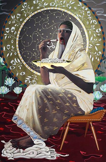 The Wife [L'épouse] (du diptyque We Come Alive From Eating Your Flesh), 2016, Rajni Perera, technique mixte et épreuve au jet d'encre sur papier, 157,48 x 104,14cm.