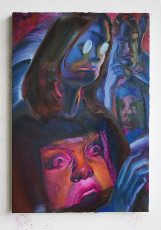Sally in Third, 2020, Alexa Hawksworth, huile sur toile, 34cm x 48cm.
