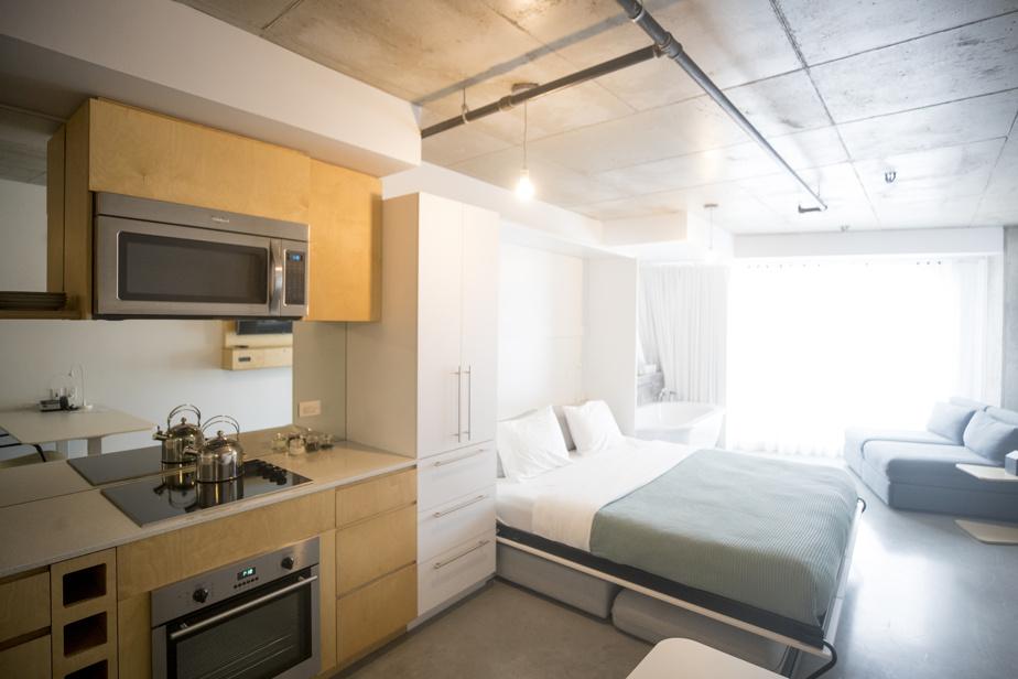 Chaque chambre du Boxotel est équipée d'une petite cuisine.