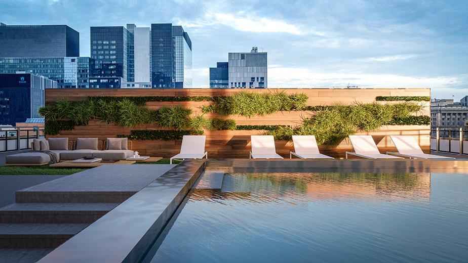 Il y aura une piscine en acier inoxydable sur la terrasse du complexe.