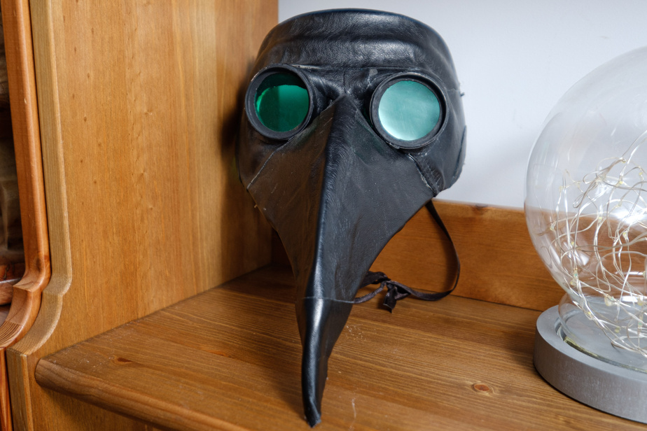 L'inquiétant masque des médecins de la peste d'autrefois. Il a été fabriqué par MmeParadis pour son fils amateur du jeu Fortnite (il s'agit de l'une des personnalisations disponibles) à l'occasion de l'Halloween. Il lui a demandé beaucoup de travail, et plutôt que de le remiser dans une boîte une fois la fête passée, elle préfère l'idée de l'exposer dans la salle familiale.