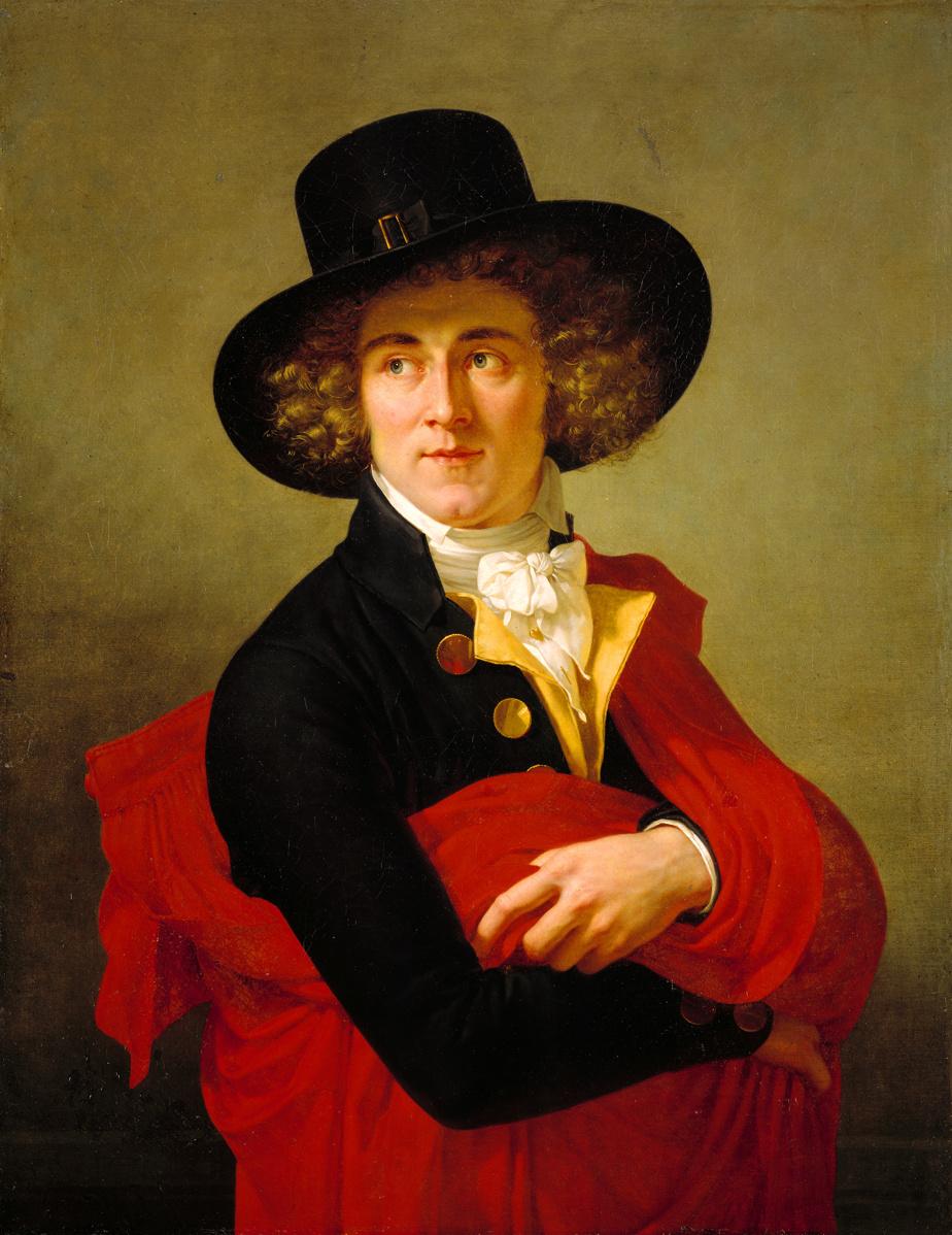 Portrait d'un jeune homme avec une cape rouge et un grand chapeau, vers 1795-1800, François-Xavier Fabre, huile sur toile. Achat, legs de Horsley et Annie Townsend et legs de J. Aldéric Raymond.