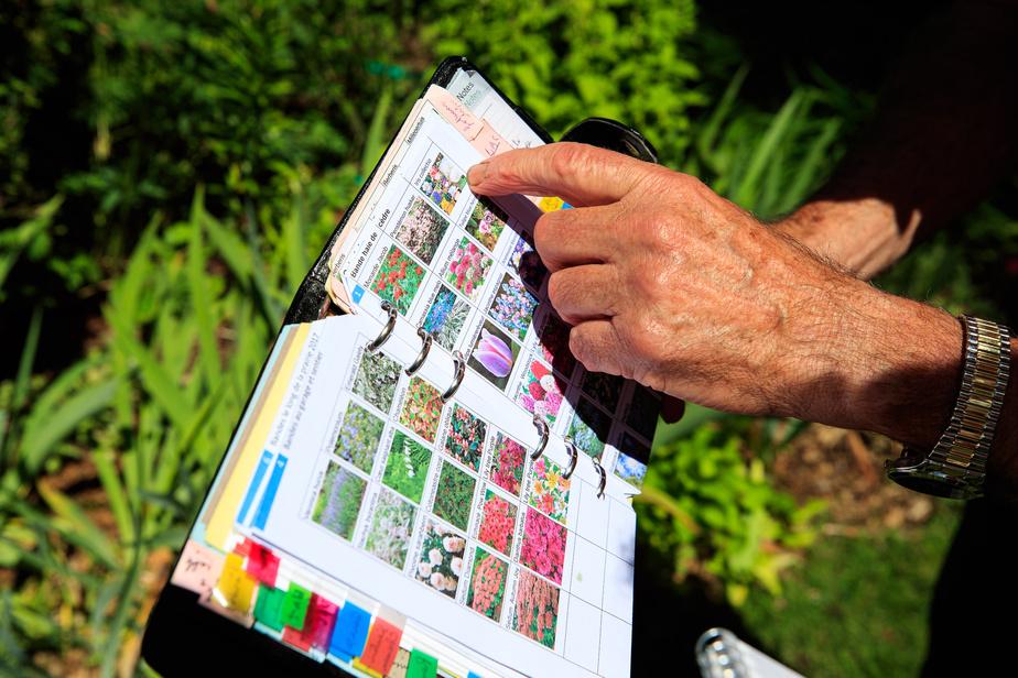 Réal Rousseau est très méthodique. Il dresse l'inventaire de toutes les plantes qu'il met en terre, photos à l'appui. Lorsqu'il les divise, il en prend note.