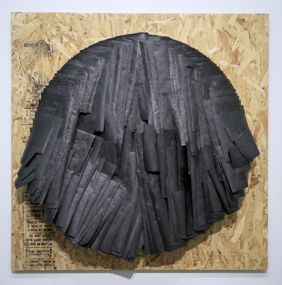 Maniwaki, 2018, Caroline Monnet, membrane pare-air, aggloméré de bois