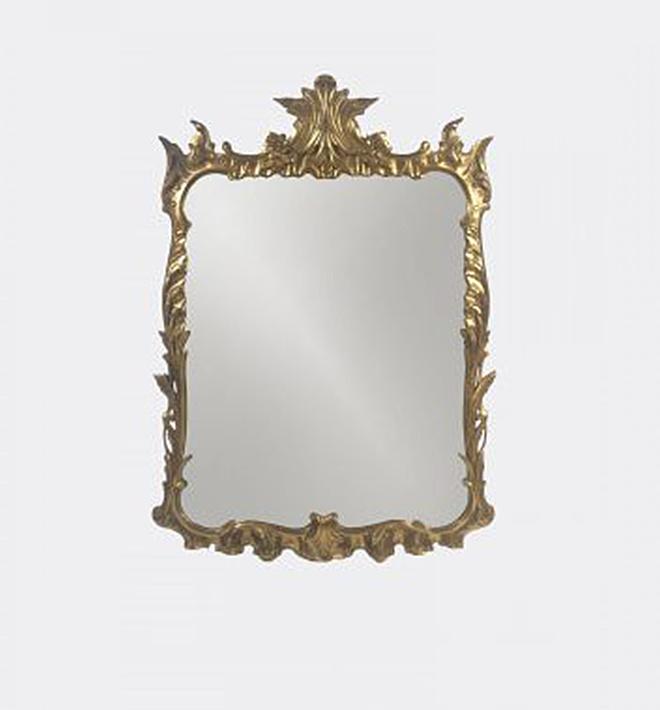 Miroir en bois sculpté laqué (450$)