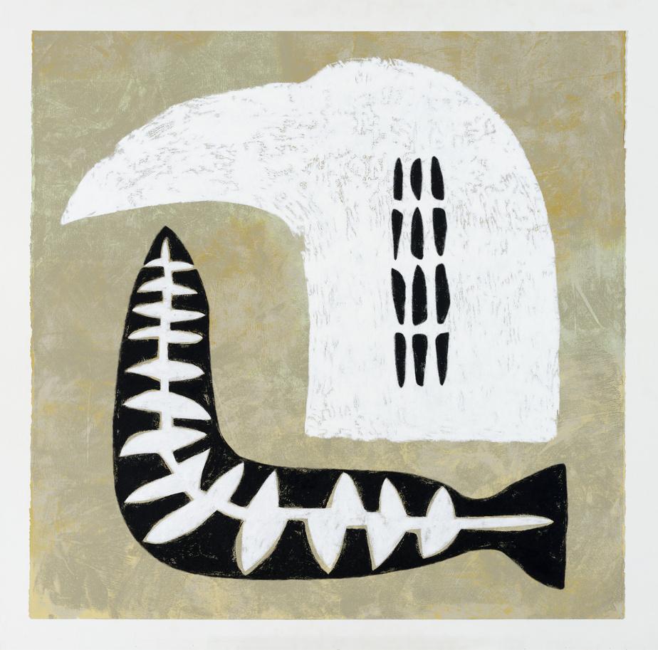 FestinII, 2020, Lyne Bastien, acrylique sur papier Stonehenge, 106,7cm x 108cm.