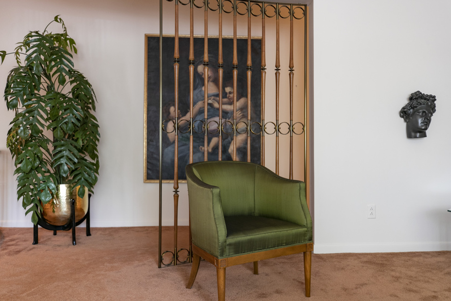 Une jolie claustra en bois et en laiton sépare le salon du passage menant à la cuisine.