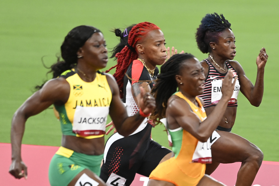 La Canadienne Crystal Emmanuel au milieu d'un peloton où l'on comprend très bien l'effort nécessaire pour franchir autant de mètres en si peu de secondes.