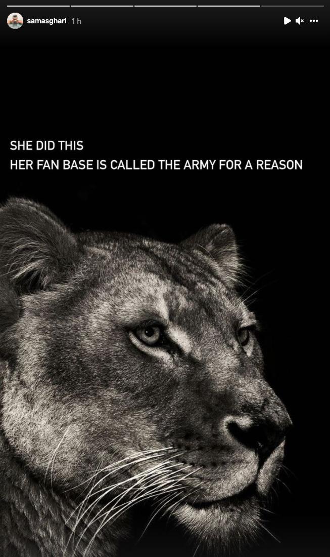«Elle a fait ça. Sa base d'admirateurs s'appelle L'armée pour une raison.»