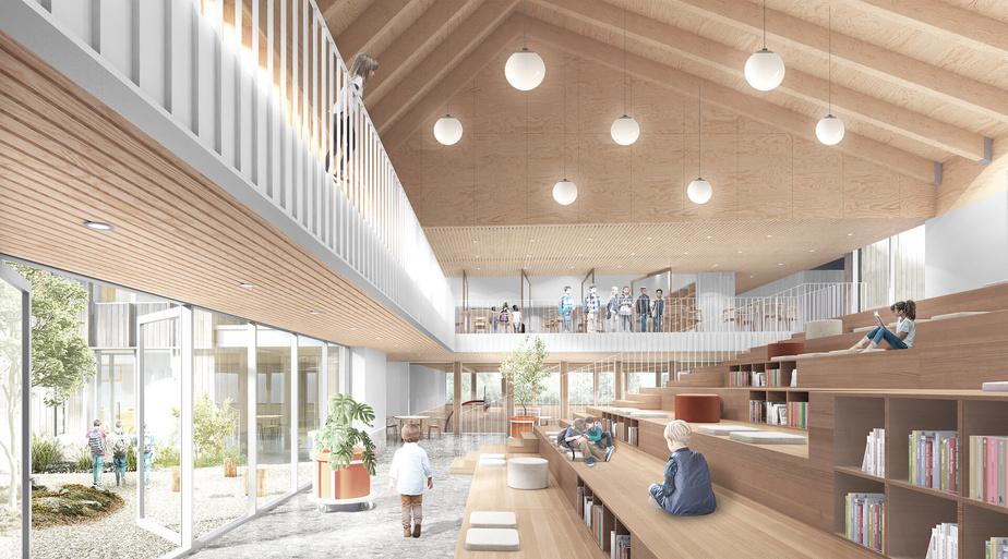 L'école de Saguenay a été conçue par APPAREIL Architecture, BGLA et Etienne Bernier architecture.