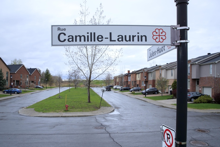 Un panneau signalétique pour la minuscule rue Camille-Laurin dans Pointe-aux-Trembles
