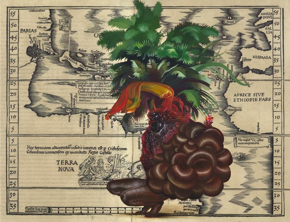 Sans titre (Terra Nova), 2020, Firelei Báez (1981-), peinture à l'huile et à l'acrylique, impression laser sur toile. Collection MBAM.