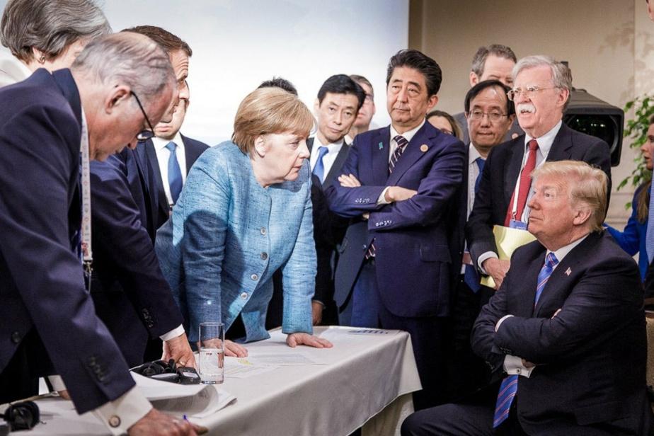Face au président Trump au sommet du G7 à LaMalbaie, au Québec, en juin 2018