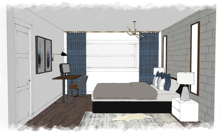 La chambre est chaleureuse grâce à l'attention accordée à plusieurs éléments du décor: les lampes de chevet, le luminaire, les deux miroirs assortis au nouveau bureau, plus ergonomique, le tapis, le couvre-lit, les rideaux. L'équipe de Hop Déco a fourni une liste d'achat, garantie pour 10jours, pour obtenir l'effet désiré. Si un article n'est plus offert à l'intérieur de cette période, un autre est proposé.