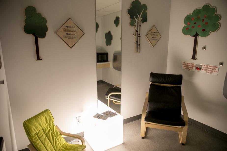 I designer hanno pensato a tutto, anche a creare una stanza tranquilla per l'allattamento.